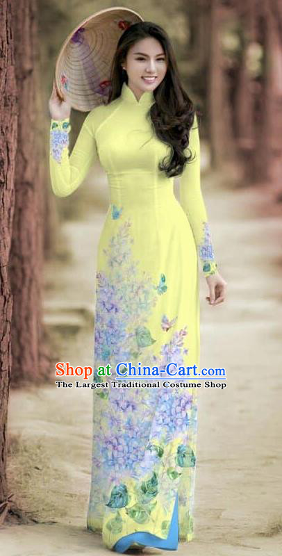 Asian Traditional Vietnam Female Costume Vietnamese Bride Cheongsam Yellow Ao Dai Qipao Dress for Women