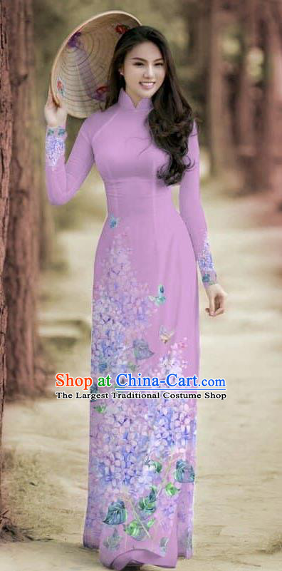 Asian Traditional Vietnam Female Costume Vietnamese Bride Cheongsam Lilac Ao Dai Qipao Dress for Women