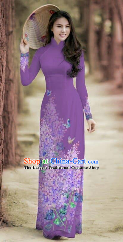 Asian Traditional Vietnam Female Costume Vietnamese Bride Cheongsam Purple Ao Dai Qipao Dress for Women