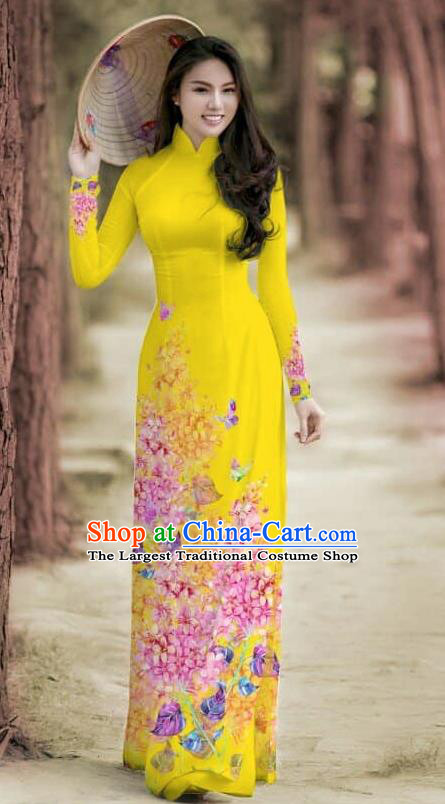 Asian Traditional Vietnam Female Costume Vietnamese Bride Cheongsam Bright Yellow Ao Dai Qipao Dress for Women