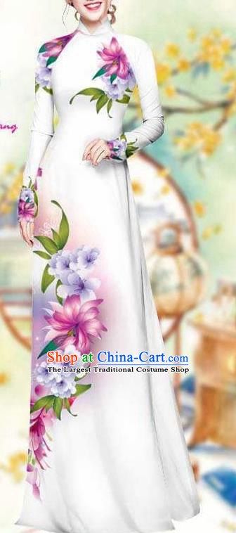 Asian Traditional Vietnam Female Costume Vietnamese Bride White Cheongsam Ao Dai Qipao Dress for Women