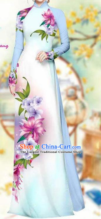 Asian Traditional Vietnam Female Costume Vietnamese Bride Light Blue Cheongsam Ao Dai Qipao Dress for Women