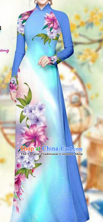 Asian Traditional Vietnam Female Costume Vietnamese Bride Blue Cheongsam Ao Dai Qipao Dress for Women