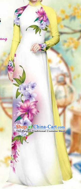 Asian Traditional Vietnam Female Costume Vietnamese Bride Yellow Cheongsam Ao Dai Qipao Dress for Women