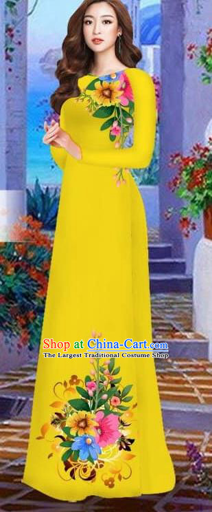Asian Vietnam Traditional Female Costume Vietnamese Bright Yellow Cheongsam Printing Ao Dai Qipao Dress for Women