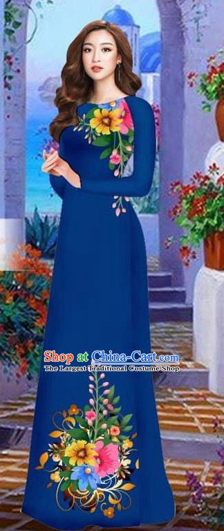 Asian Vietnam Traditional Female Costume Vietnamese Navy Cheongsam Printing Ao Dai Qipao Dress for Women