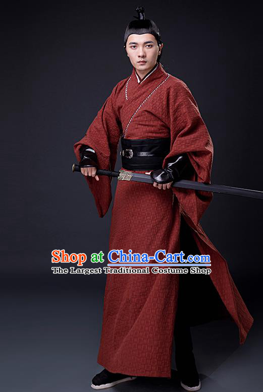 Chinese Ancient Han Dynasty Drama Swordsman Knight Costumes for Men