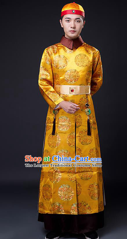 Traditional Chinese Ancient Qing Dynasty Drama Emperor Costumes and Hat for Men