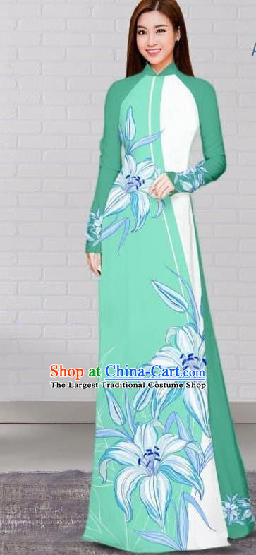 Asian Traditional Vietnam Costume Vietnamese Bride Green Cheongsam Ao Dai Qipao Dress for Women