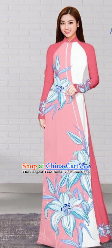 Asian Traditional Vietnam Costume Vietnamese Bride Pink Cheongsam Ao Dai Qipao Dress for Women