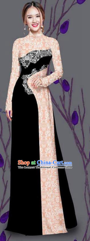 Asian Traditional Vietnam Costume Ao Dai Qipao Dress Vietnamese Bride Black Cheongsam for Women