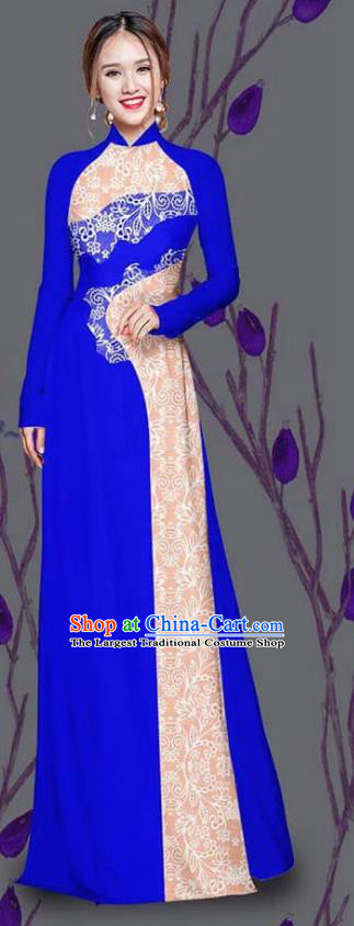 Asian Traditional Vietnam Costume Ao Dai Qipao Dress Vietnamese Bride Royalblue Cheongsam for Women