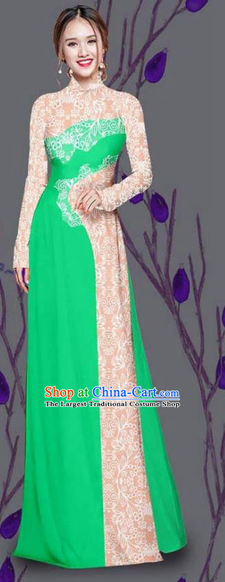Asian Traditional Vietnam Costume Ao Dai Qipao Dress Vietnamese Bride Green Cheongsam for Women