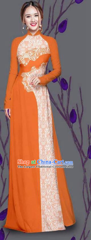 Asian Traditional Vietnam Costume Ao Dai Qipao Dress Vietnamese Bride Orange Cheongsam for Women