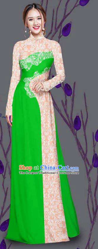 Asian Traditional Vietnam Costume Ao Dai Qipao Dress Vietnamese Bride Deep Green Cheongsam for Women
