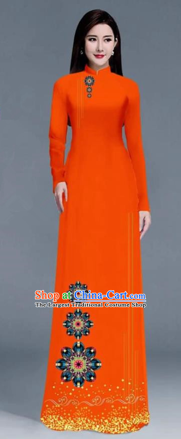Asian Traditional Vietnam Ao Dai Costume Vietnamese Bride Orange Cheongsam for Women