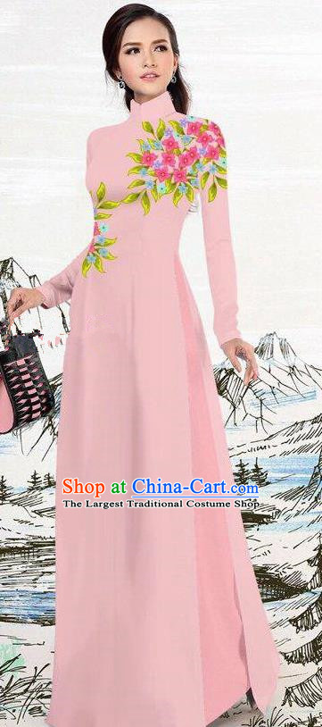 Asian Traditional Vietnam Female Costume Vietnamese Pink Ao Dai Cheongsam for Women