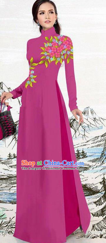 Asian Traditional Vietnam Female Costume Vietnamese Amaranth Ao Dai Cheongsam for Women
