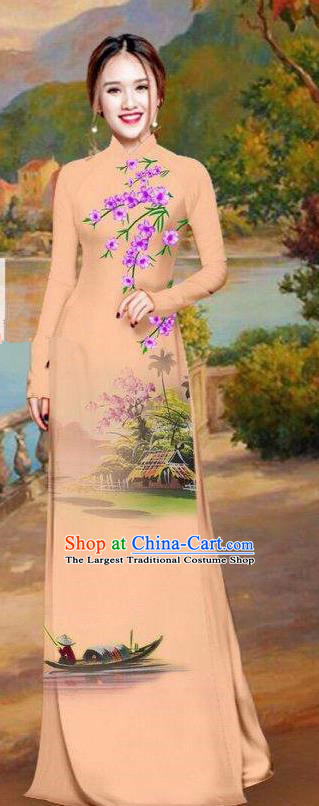 Asian Traditional Vietnam Bride Costume Vietnamese Printing Khaki Ao Dai Cheongsam for Women