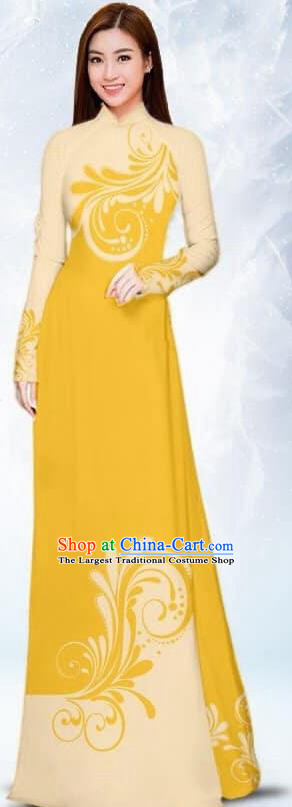 Asian Traditional Vietnam Female Costume Vietnamese Bride Yellow Ao Dai Cheongsam for Women