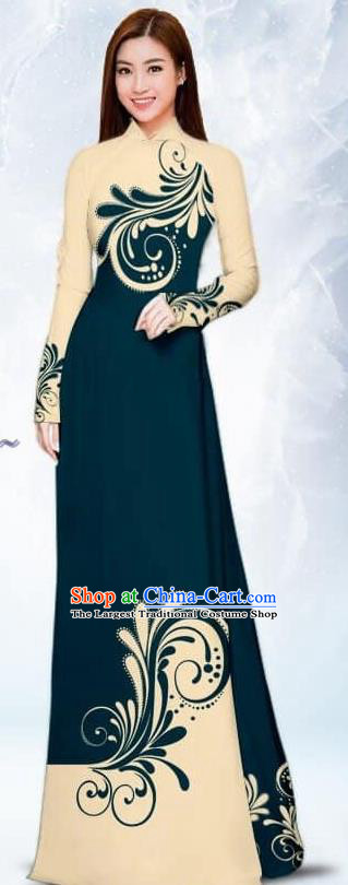 Asian Traditional Vietnam Female Costume Vietnamese Bride Peacock Blue Ao Dai Cheongsam for Women