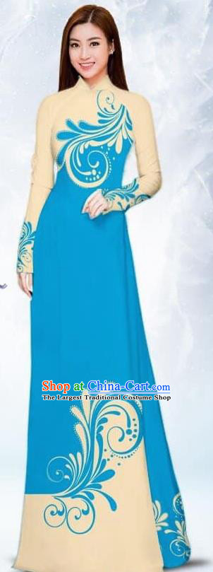 Asian Traditional Vietnam Female Costume Vietnamese Bride Blue Ao Dai Cheongsam for Women