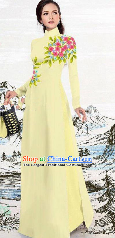Asian Traditional Vietnam Female Costume Vietnamese Light Yellow Ao Dai Cheongsam for Women