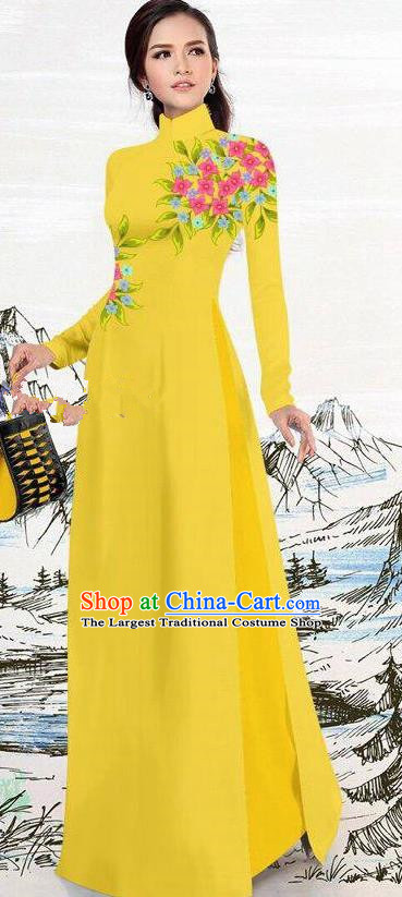 Asian Traditional Vietnam Female Costume Vietnamese Yellow Ao Dai Cheongsam for Women