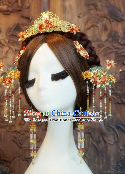 Chinese Ancient Hair Jewelry Accessories Queen Phoenix Coronet Hairpins Headdress for Women