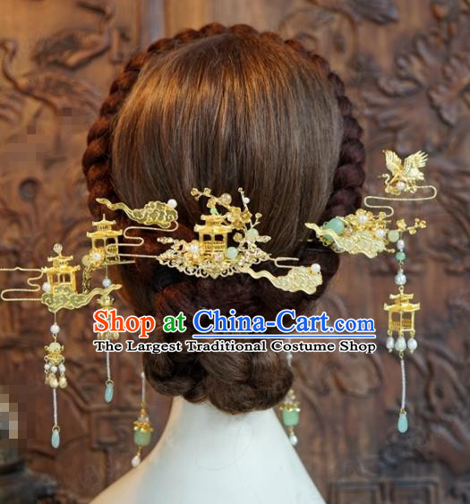 Chinese Ancient Hair Jewelry Accessories Queen Tassel Hairpins Headdress for Women