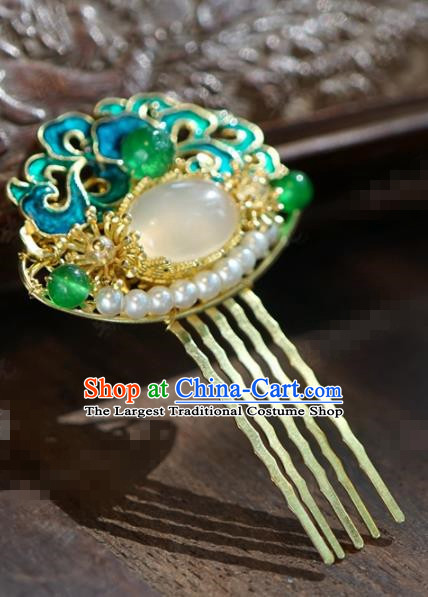 Chinese Ancient Wedding Hair Jewelry Accessories Blueing Pearls Hair Comb Hairpins for Women