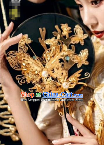 chinese Traditional Palace Fans Ancient Bride Hanfu Fans Jewelry Accessories for Women