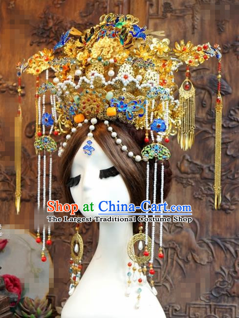 Chinese Ancient Wedding Queen Luxurious Blueing Phoenix Coronet Hair Jewelry Accessories Hairpins for Women