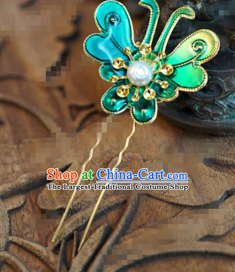 Chinese Ancient Wedding Hair Jewelry Accessories Queen Blue Butterfly Hairpins for Women
