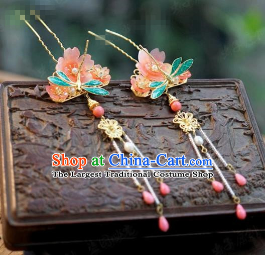 Chinese Ancient Wedding Queen Hair Jewelry Accessories Dragonfly Tassel Hairpins for Women