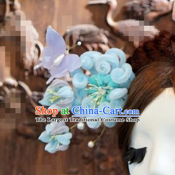 Chinese Ancient Wedding Queen Hair Jewelry Accessories Blue Chrysanthemum Hairpins for Women