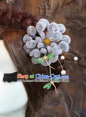 Chinese Ancient Wedding Queen Hair Jewelry Accessories Purple Chrysanthemum Hairpins for Women