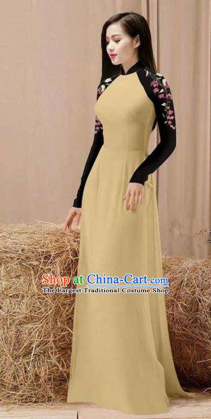 Vietnam Traditional Costume Khaki Ao Dai Qipao Dress Vietnamese Cheongsam for Women