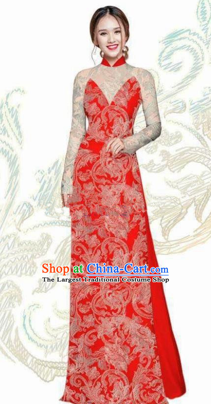 Vietnam Traditional Bride Costume Vietnamese Red Ao Dai Qipao Dress Cheongsam for Women