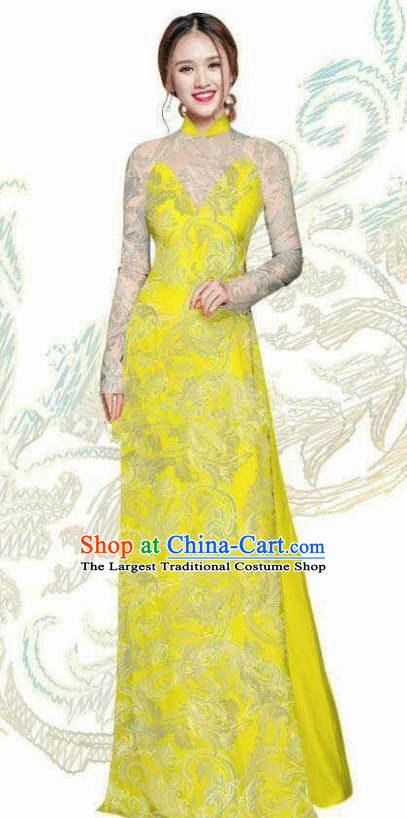 Vietnam Traditional Bride Costume Vietnamese Bright Yellow Ao Dai Qipao Dress Cheongsam for Women