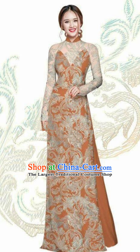 Vietnam Traditional Bride Costume Vietnamese Ao Dai Qipao Dress Cheongsam for Women