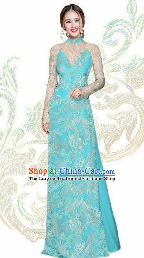 Vietnam Traditional Bride Costume Vietnamese Blue Ao Dai Qipao Dress Cheongsam for Women