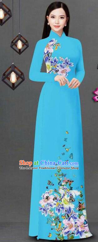 Vietnam Traditional Bride Costume Vietnamese Printing Flowers Blue Ao Dai Qipao Dress Cheongsam for Women