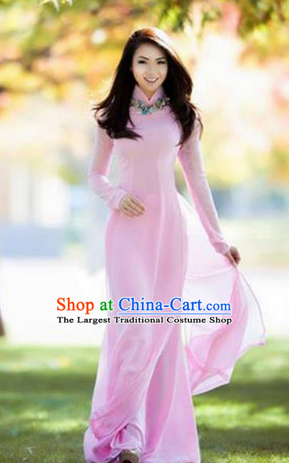 Vietnam Traditional Bride Costume Vietnamese Pink Ao Dai Qipao Dress Cheongsam for Women