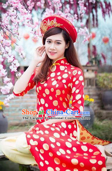 Vietnam Traditional Costume Vietnamese Bride Red Ao Dai Qipao Dress Cheongsam for Women