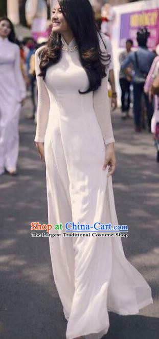 Vietnam Traditional Female Costume Vietnamese Bride White Ao Dai Qipao Dress Cheongsam for Women