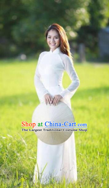 Vietnam Traditional Costume Vietnamese Bride White Ao Dai Qipao Dress Cheongsam for Women