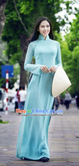 Vietnam Traditional Female Costume Vietnamese Bride Green Ao Dai Qipao Dress Cheongsam for Women