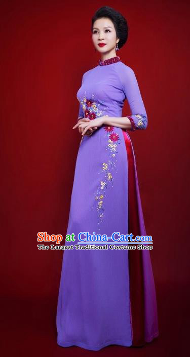 Vietnam Traditional Female Costume Vietnamese Bride Purple Ao Dai Qipao Dress Cheongsam for Women