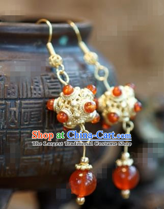 Chinese Traditional Palace Agate Earrings Ancient Bride Hanfu Jewelry Accessories for Women